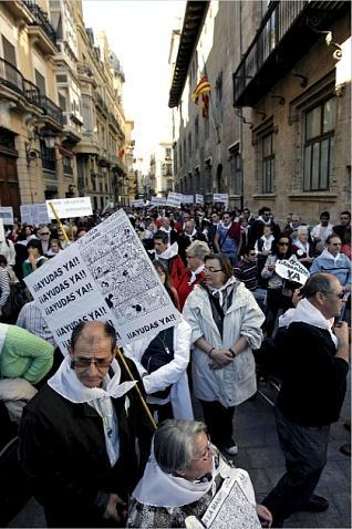 Dependientes manifestandose en Valencia